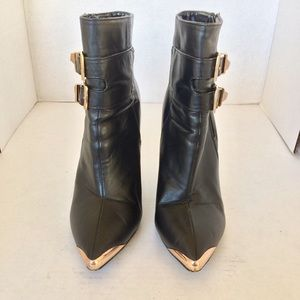 Shoes - BLACK VEGAN LEATHER GOLD TIP WEDGE ANKLE BOOT